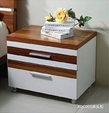 Metal Handles Nightstands Bedside Tables Particle Board With Melamine Material