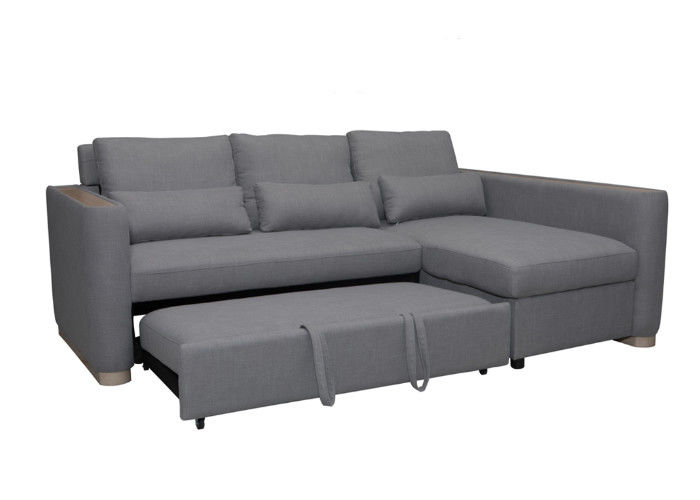 Gray Color Functional Sofa Bed Spring Imitated Linen Wooden Grain Legs