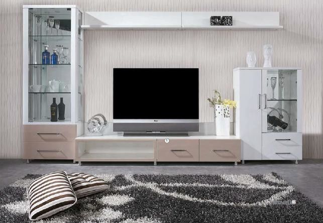 Winglets Wood Grain Modern TV Wall Unit / White Corner TV Unit MDF Frame